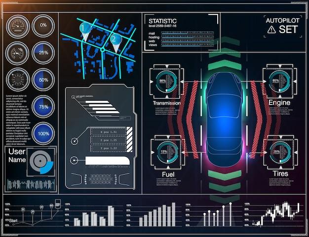 Koncepcja systemów wspomagających kierowcę. transport z sygnałem bezprzewodowym. autopilot.