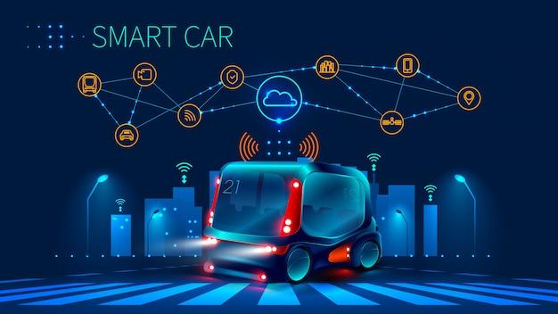 Koncepcja systemów wspomagania kierowcy. autonomiczny samochód. auto bez kierowcy