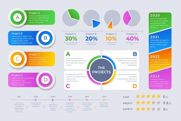 Koncepcja szablon kolekcji element infografiki