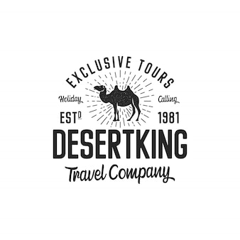 Koncepcja szablon logo wielbłąda. logotyp firmy turystycznej