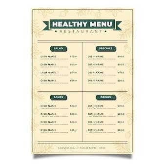 Koncepcja szablon menu vintage zdrowej żywności