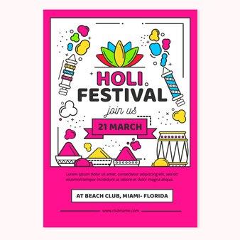 Koncepcja szablon ulotki festiwal holi