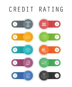 Koncepcja szablonów ui modny rating kredytowy z prostymi ikonami linii. zawiera przyciski takie jak ryzyko kredytowe, ocena kredytowa, upadłość, opłata roczna i inne