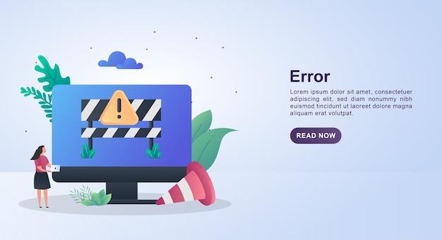 Koncepcja szablonu banera błędu z powiadomieniami o błędach na monitorze i stożku.