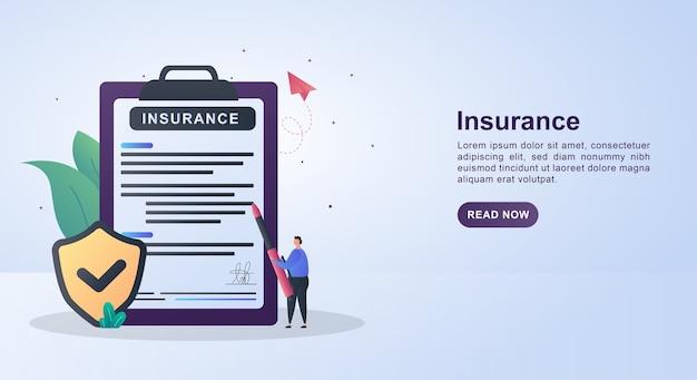 Koncepcja szablonu banera ubezpieczenia z osobą piszącą umowę ubezpieczenia.