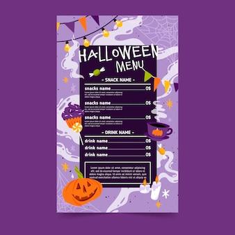 Koncepcja szablonu menu festiwalu halloween