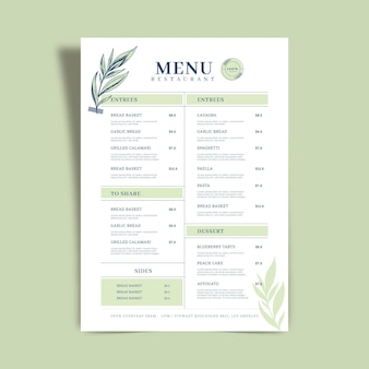 Koncepcja szablonu menu restauracji