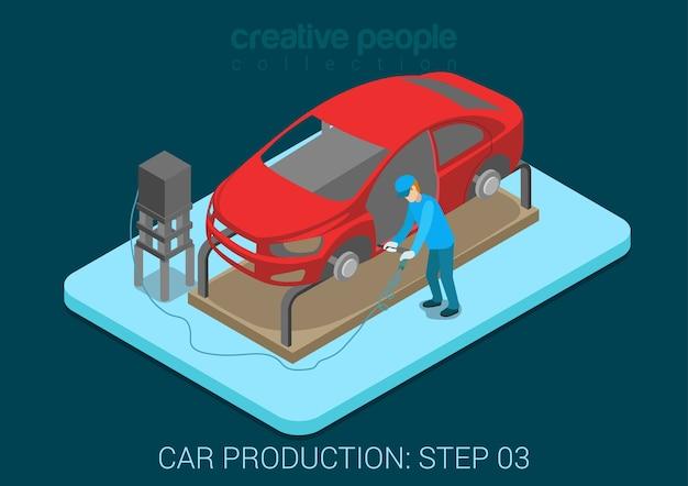 Koncepcja szablonu naprawy samochodu usługi samochodu płaski
