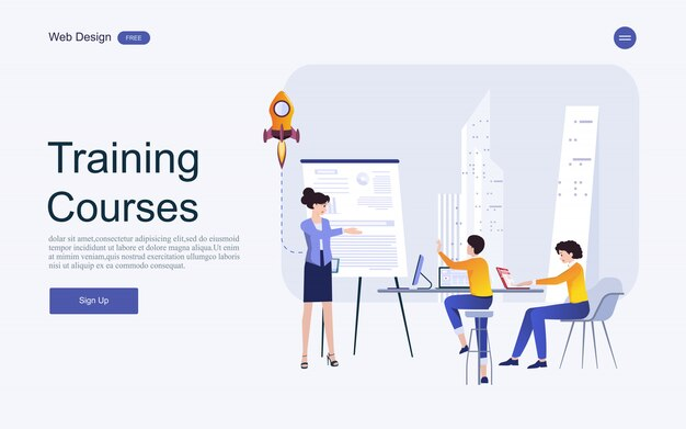Koncepcja szablonu strony internetowej dla edukacji, szkoleń i kursów online.