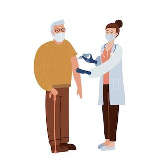 Koncepcja szczepień covid-19. stary człowiek w masce po wstrzyknięciu szczepionki. pomysł wstrzyknięcia szczepionki w celu ochrony przed chorobami. leczenie i opieka zdrowotna.