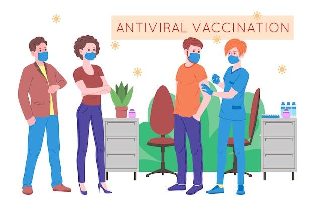 Koncepcja szczepień dla zdrowia odporności. szczepionka przeciwko covid-19. lekarze robią zastrzyk szczepionki przeciw grypie pacjentowi w szpitalu i zapraszają następny. opieka zdrowotna, koronawirus, profilaktyka i immunizacja