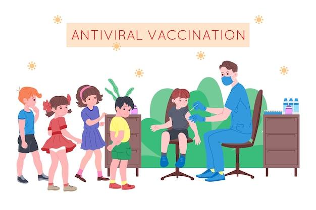 Koncepcja szczepień dla zdrowia odporności. szczepionka przeciwko covid-19. lekarze wstrzykują dzieciom szczepionkę antywirusową i zapraszają następne. opieka zdrowotna nad dziećmi, koronawirus, profilaktyka i immunizacja