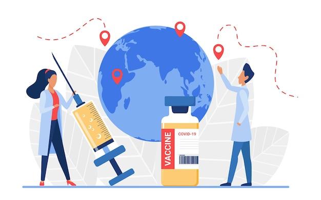 Koncepcja szczepień epidemiologicznych lekarz ludzie badają lokalizację pandemii wirusa na mapie