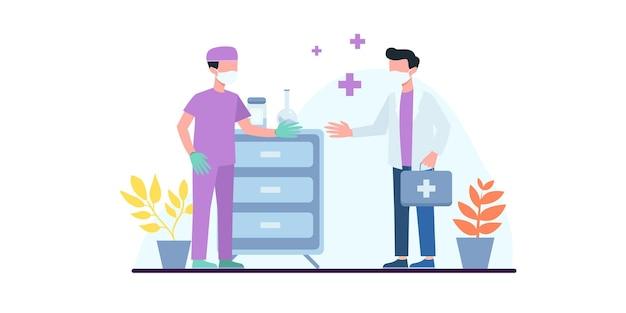 Koncepcja szczepień ludzi dla zdrowia odporności. covid19. lekarz robi zastrzyk szczepionki przeciw grypie mężczyźnie w szpitalu. wyjaśnienie szczepionki. opieka zdrowotna, koronawirus, profilaktyka i immunizacja
