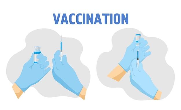 Koncepcja szczepień, ręce w rękawiczkach medycznych wciągnąć szczepionkę do strzykawki.