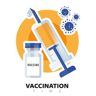 Koncepcja szczepień. szczepionka przeciwko koronawirusowi covid-19. płaskie ikony fiolki strzykawki i szczepionki. leczenie koronawirusa covid-19. czas na szczepienie. ilustracja wektorowa na białym tle