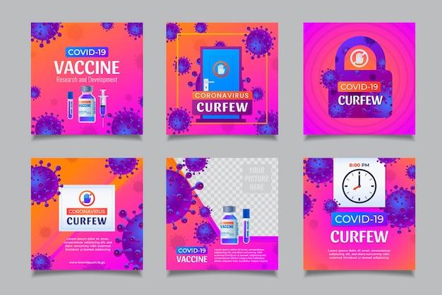 Koncepcja szczepionki i godziny policyjnej na koronawirusa, szablony postów w mediach społecznościowych z realistyczną ilustracją.