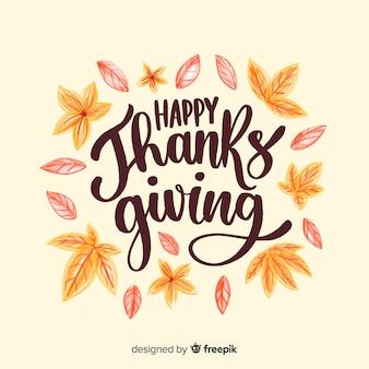 Koncepcja szczęśliwego dziękczynienia z napisem