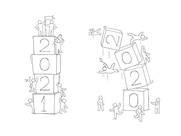 Koncepcja szczęśliwego nowego roku 2021. kreskówka doodle ilustracja z małymi ludźmi. ręcznie rysowane na boże narodzenie projekt.