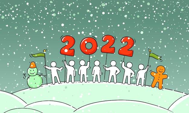 Koncepcja szczęśliwego nowego roku 2022. ręcznie rysowane wektor na boże narodzenie projekt.