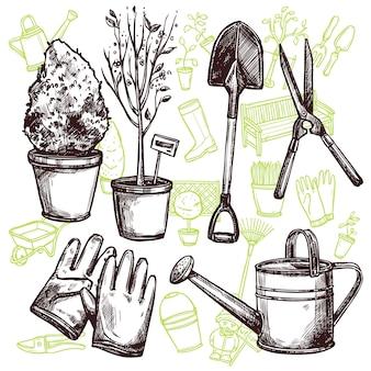 Koncepcja szkicu narzędzia ogrodnicze