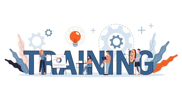 Koncepcja szkolenia zawodowego. idea edukacji i coachingu. rozwój osobisty i wzrost. baner internetowy. ilustracja