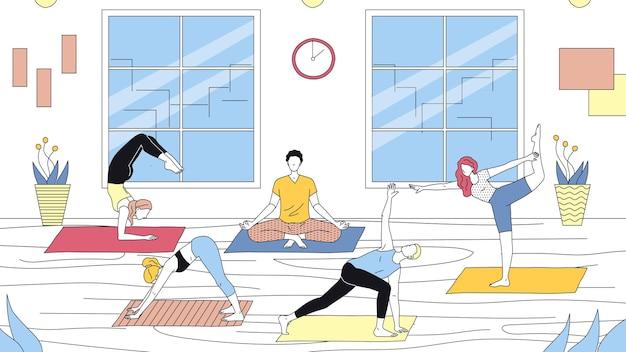 Koncepcja szkoły jogi, opieki zdrowotnej i aktywnego sportu. grupa ludzi robi joga w siłowni. postacie biorą udział w zajęciach jogi i prowadzą zdrowy styl życia. ilustracja kreskówka liniowy zarys płaski wektor.