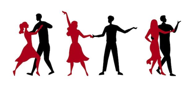 Koncepcja szkoły tańca lub konkursy. sylwetki ludzi lubiących spędzać czas razem. mężczyźni i kobiety bawią się razem tańcząc tango w parach.