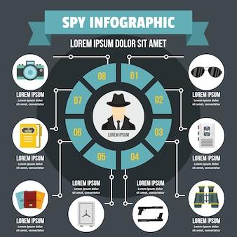 Koncepcja szpieg infographic.