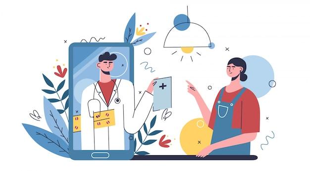 Koncepcja szpitala multidyscyplinarnego, klinika opieki zdrowotnej online, planowanie wizyt. personel medyczny i pomoc medyczna online