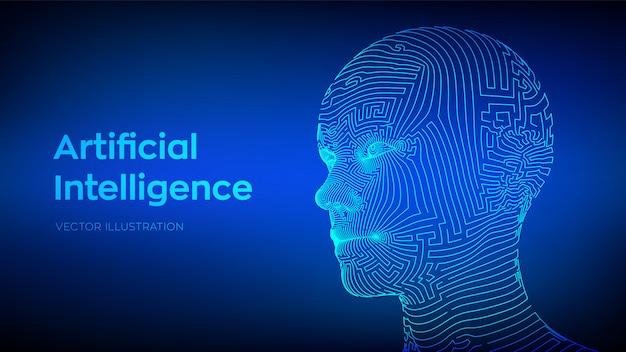 Koncepcja sztucznej inteligencji. cyfrowy mózg ai. streszczenie cyfrowa ludzka twarz. ludzka głowa w cyfrowej interpretacji komputerowej robota