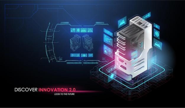 Koncepcja sztucznej inteligencji i zrobotyzowanego kwantowego procesora obliczeniowego.