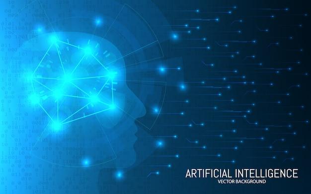 Koncepcja sztucznej inteligencji. streszczenie futurystycznym tle. big data. głowa z połączeniami na tle binarnym. cyfrowa technologia mózgu. ilustracja.