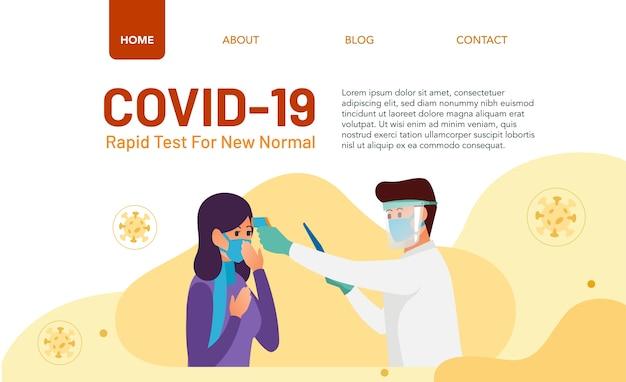 Koncepcja szybkiego testu dla strony docelowej. lekarz przeprowadza szybki test na pacjencie narażonym na działanie wirusa