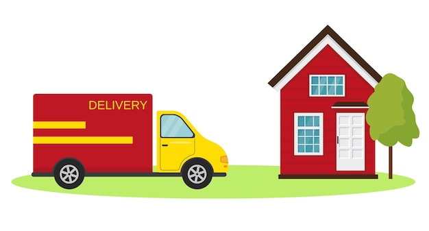 Koncepcja szybkiej dostawy samochód dostawczy i dom z drzewem