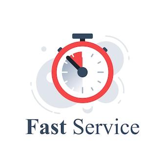 Koncepcja szybkiej usługi, stoper last minute, zegar, licznik czasu, odliczanie ostatniej oferty, szybka dostawa zamówienia, ograniczony okres, ikona, ilustracja