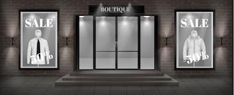 Koncepcja tło, boutique sklep fasada z szyld