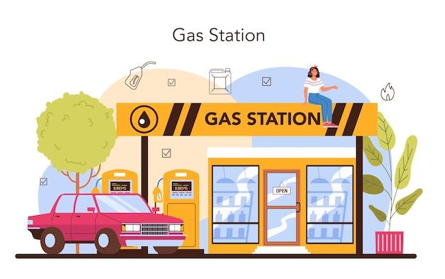 Koncepcja tankowca pracownik stacji benzynowej w mundurze roboczym