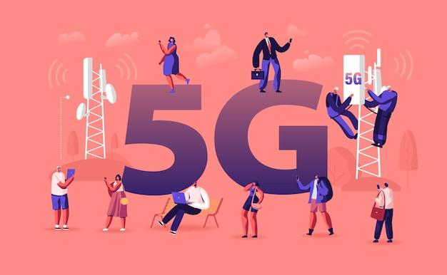 Koncepcja technologii 5g. płaskie ilustracja kreskówka