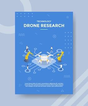 Koncepcja technologii badań dronów dla szablonu banera i ulotki z wektorem w stylu izometrycznym