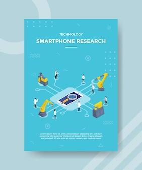 Koncepcja technologii badań smartfonów dla banera szablonu i ulotki z wektorem w stylu izometrycznym
