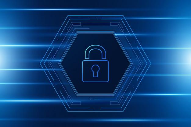 Koncepcja technologii bezpieczeństwa cybernetycznego hexagon
