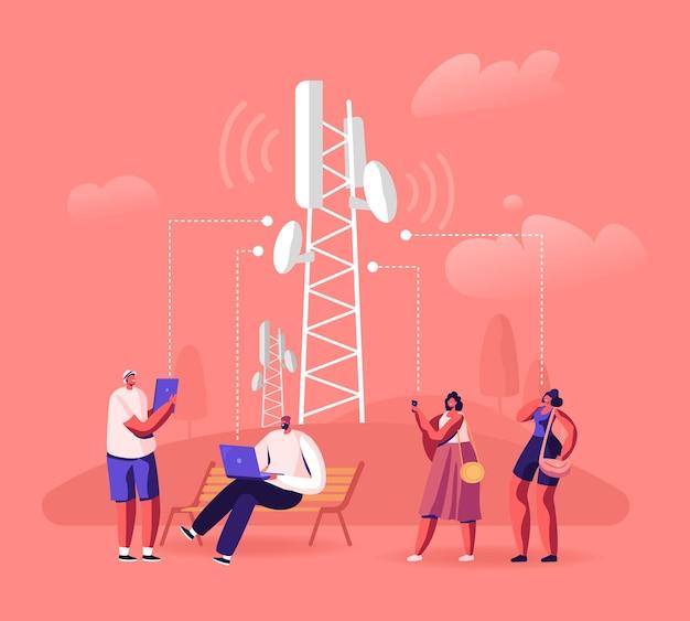 Koncepcja technologii bezprzewodowej sieci 5g. ludzie w transmission tower korzystający z szybkiego mobilnego internetu w nowoczesnych urządzeniach cyfrowych. płaskie ilustracja kreskówka