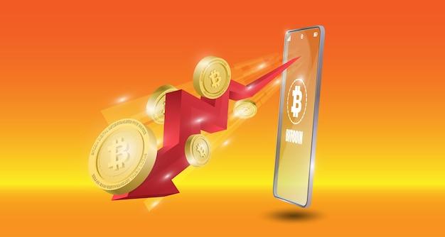 Koncepcja technologii bitcoin z czerwoną strzałką w tle trendu spadkowego. ilustracja wektorowa realistyczne.