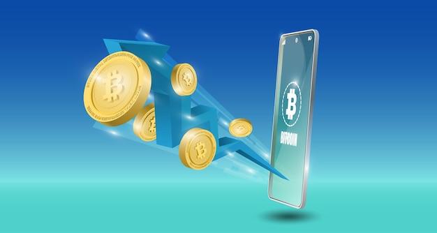 Koncepcja technologii bitcoin z niebieskim tle strzałki trendu spadkowego. ilustracja wektorowa realistyczne.