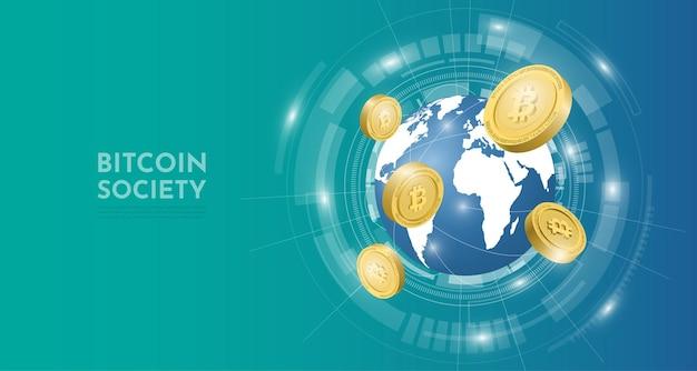 Koncepcja technologii bitcoin z tłem świata 3d. ilustracja wektorowa realistyczne.