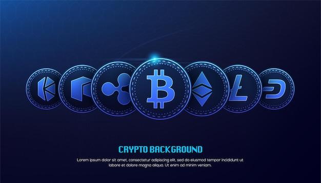 Koncepcja Technologii Blockchain Blue Bitcoin 3d Premium Wektorów
