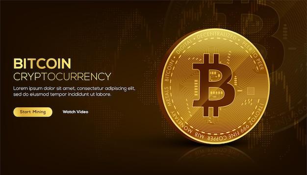 Koncepcja technologii blockchain golden bitcoin 3d odpowiednia dla przyszłego banera lub okładki technologii