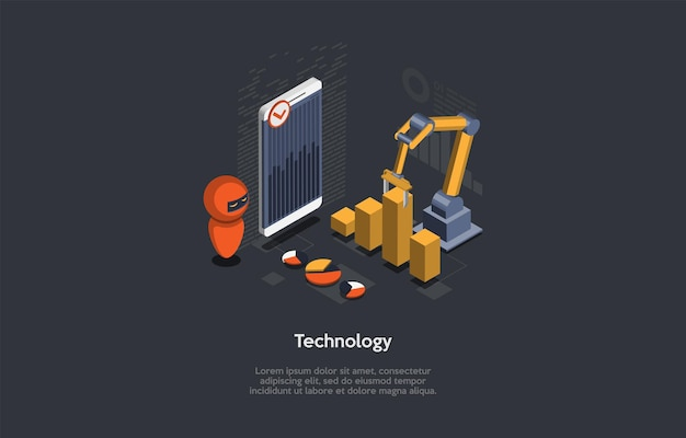 Koncepcja technologii. cartoon styl 3d, izometryczne ilustracji wektorowych z tekstem. zautomatyzowane maszyny zrobotyzowane, uproszczenie procesu roboczego. inteligentny telefon z wykresami, robotem, mechanizmem, infografiką