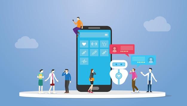 Koncepcja Technologii Chatbota Opieki Zdrowotnej Z Nowoczesną Ilustracją Wektorową W Stylu Płaskim Premium Wektorów